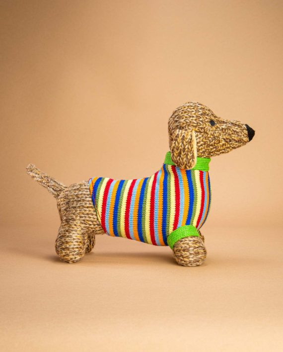Knitted Sausage Dog soft toy gift - Send a Cuddly