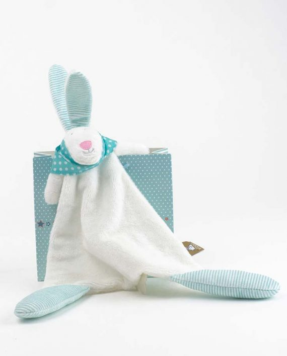Blue rabbit baby comforter