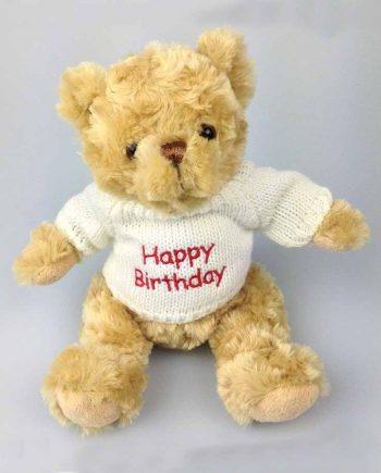 happy birthday bear in white