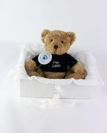 Free Cuddles Sherwood Bear in blue jumper