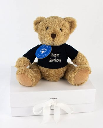 Happy Birthday Sherwood Bear in blue jumper