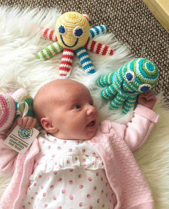 Crochet Octopus Rattle with beautiful baby