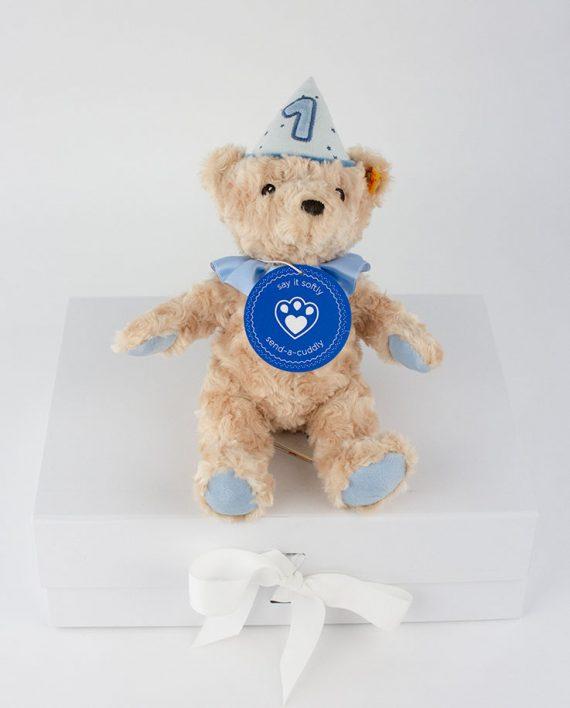 First Birthday Teddy Bear with Musical Box