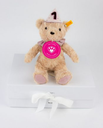 First Birthday Teddy Bear with Musical Box – Pink