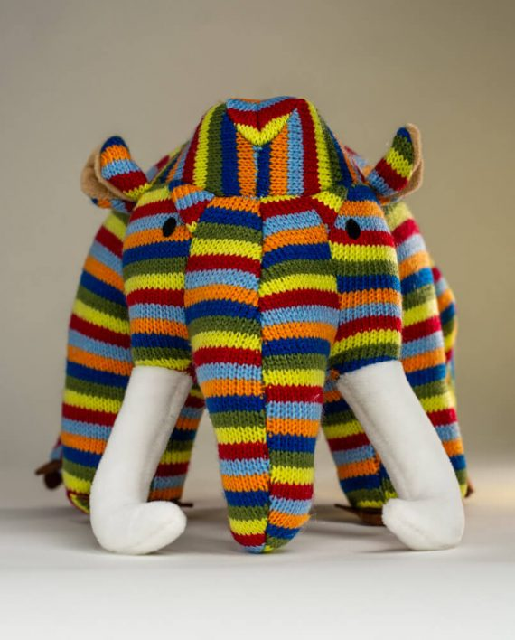 Stripey Knitted Mammoth - Send a Cuddly