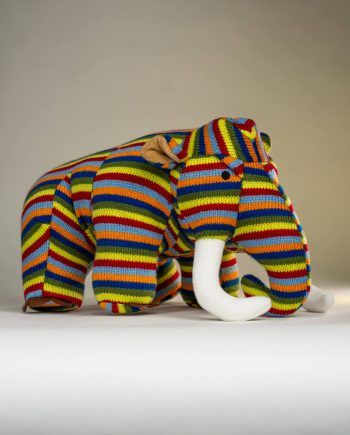 Stripey Knitted Mammoth - Send a Cuddly
