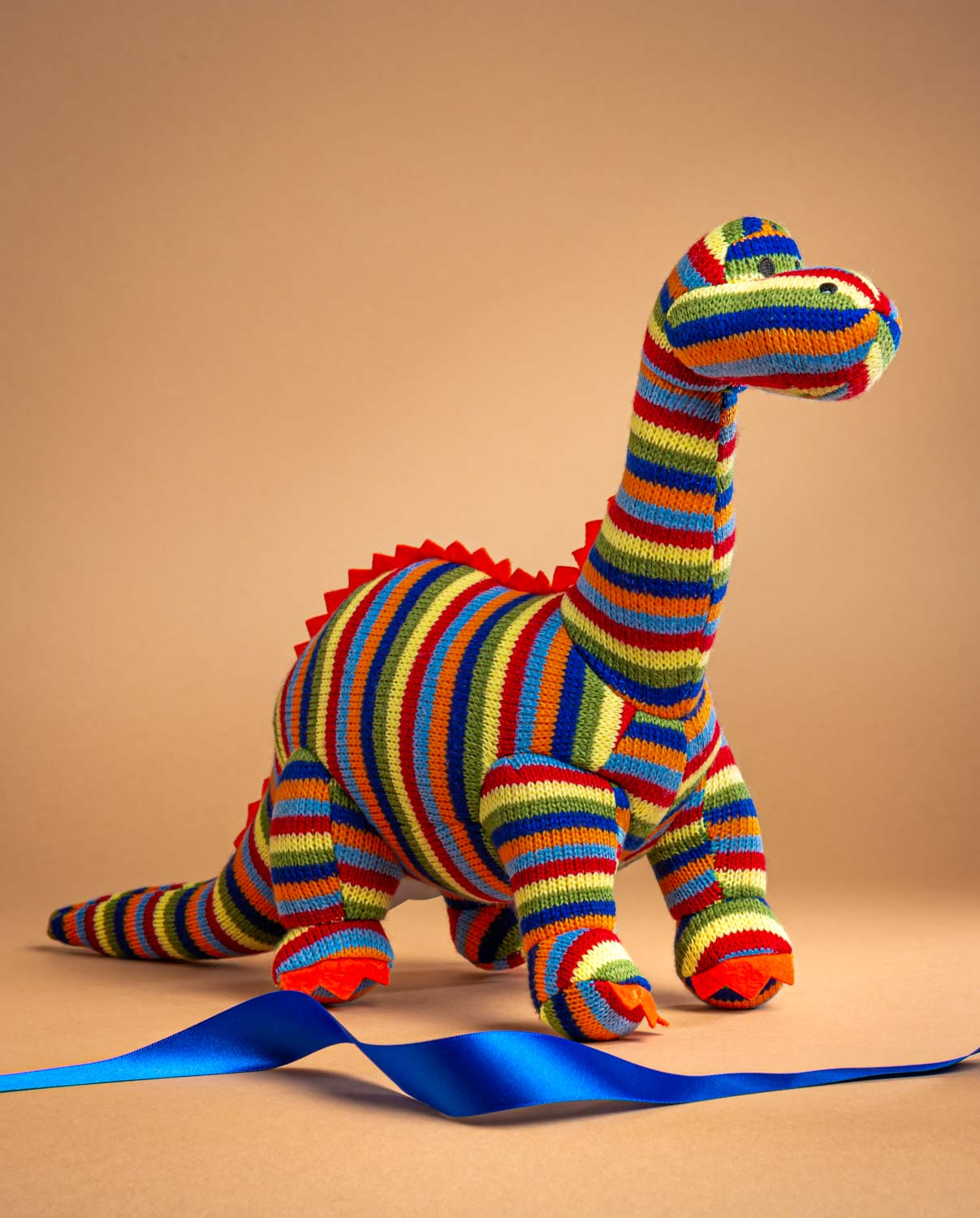 Stripey Knitted Diplodocus Soft Toy Gift - Send a Cuddly