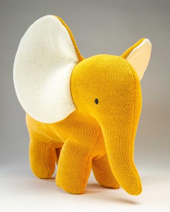 Knitted Yellow Elephant Soft Toy - Send a Cuddly