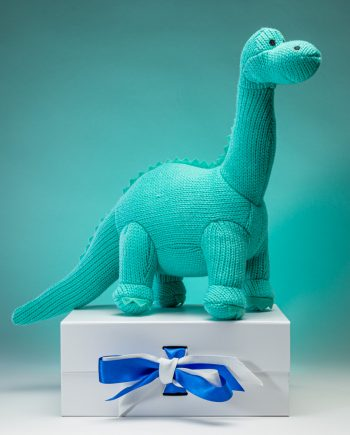 Ice Blue Knitted Diplodocus Soft Toy - Send a Cuddly