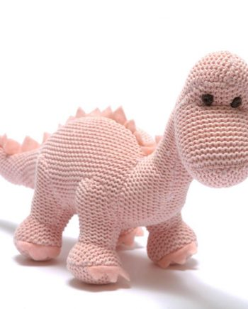 Knitted Pink Diplodocus Rattle