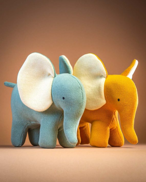 Knitted Yellow and Teal Elephant Soft Toy - Send a Cuddly