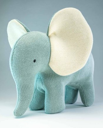 Knitted Teal Elephant Soft Toy - Send a Cuddly