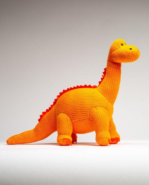 Orange Knitted Diplodocus Soft Toy - Send a Cuddly