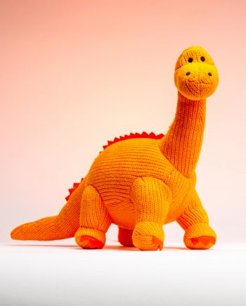 Orange Knitted Diplodocus Soft Toy - Send a Cuddly