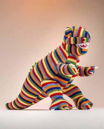 Stripey Knitted T.Rex Soft Toy Gift - Send a Cuddly