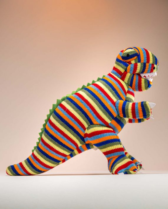 Stripey Knitted T.Rex Soft Toy Gift - Send a Cuddly