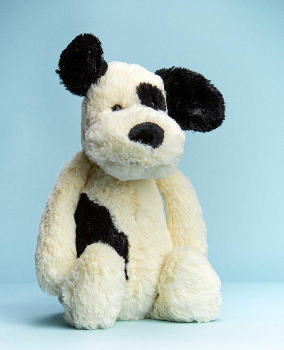 Black and Cream Puppy Soft Toy - Send a Cuddly